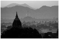 Dhammayazika Paya and mountains at dawn. Bagan, Myanmar (black and white)