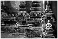 Stonework detail, Htilominlo Pahto. Bagan, Myanmar (black and white)