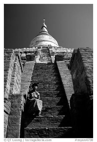 On steps of Shwesandaw Paya's upper terraces. Bagan, Myanmar (black and white)