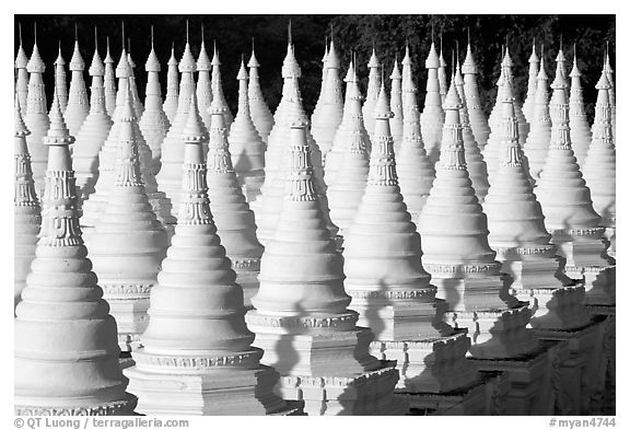 Stupas at Sandamani Paya. Mandalay, Myanmar (black and white)