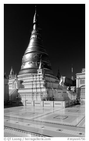 Sanctuary on Sagaing Hill. Myanmar (black and white)
