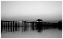 U Bein bridge, worlds longest teak span, Amarapura. Mandalay, Myanmar (black and white)
