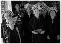 Women from Shan state visiting. Mandalay, Myanmar (black and white)