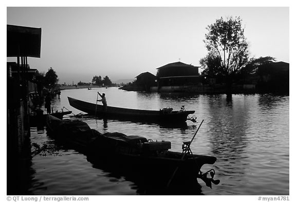 Sunset on the canal at Nyaungshwe. Inle Lake, Myanmar (black and white)