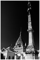 Stupas, Yadana Man Aung Paya, Nyaungshwe. Inle Lake, Myanmar (black and white)