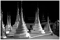 Stupas in Kalaw. Shan state, Myanmar (black and white)