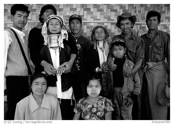Padaung people, Kalaw. Shan state, Myanmar (black and white)