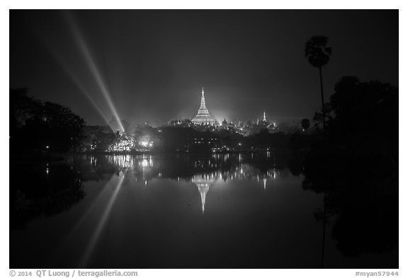 Kandawkyi Lake and 2014 new year lasers. Yangon, Myanmar (black and white)