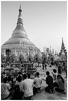 Praying from the Victory Ground, Shwedagon Pagoda, late afternoon. Yangon, Myanmar ( black and white)