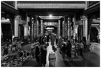 Eastern entrance corridor by night, Shwedagon Pagoda. Yangon, Myanmar ( black and white)