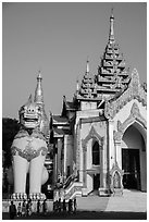 West gate, Shwedagon Pagoda. Yangon, Myanmar ( black and white)