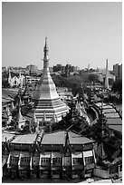 Sule Paya, Emmanuel Baptist Church, Independence Monument. Yangon, Myanmar ( black and white)