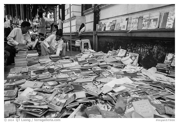 Used books for sale. Yangon, Myanmar (black and white)