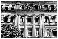 Facade of colonial-area building. Yangon, Myanmar ( black and white)