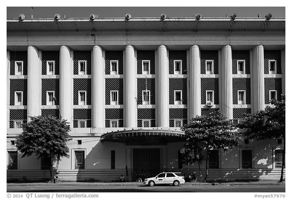Administrative colonial-area building. Yangon, Myanmar (black and white)