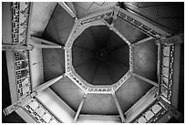 Looking up tower ceiling in colonial-area building. Yangon, Myanmar ( black and white)