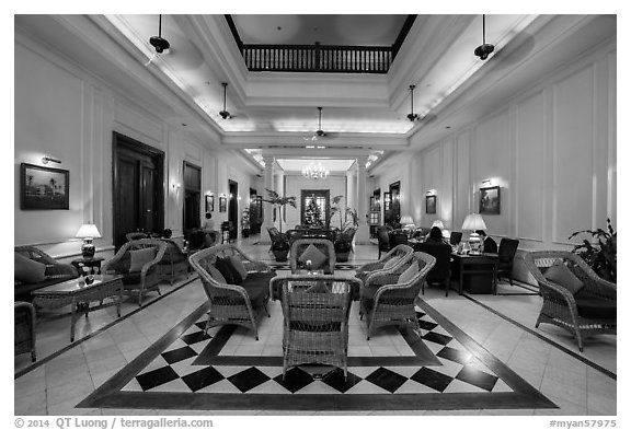 Lobby of the Strand Hotel. Yangon, Myanmar (black and white)