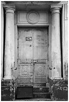 Door framed with columns. Yangon, Myanmar ( black and white)