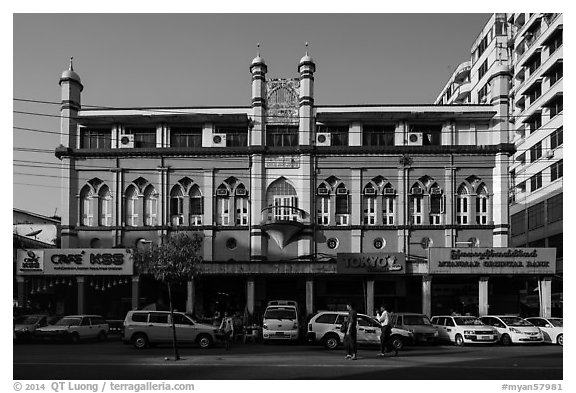 Cholia Jam-E Mosque. Yangon, Myanmar (black and white)