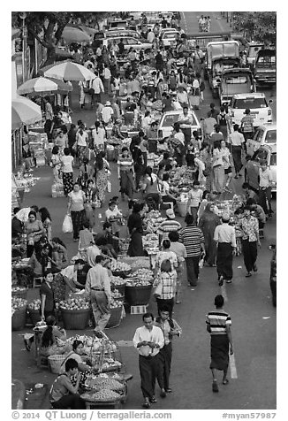 Street crowd from above with fruit and vegetable sellers. Yangon, Myanmar (black and white)