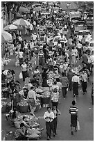 Street crowd from above with fruit and vegetable sellers. Yangon, Myanmar ( black and white)