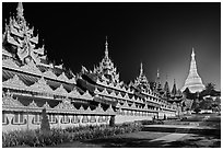 Southern zaungdan and Main Chedi at night, Shwedagon Pagoda. Yangon, Myanmar ( black and white)