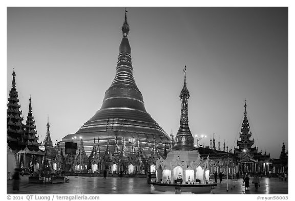 Shwedagon Pagoda gold covered stupa at dawn. Yangon, Myanmar (black and white)