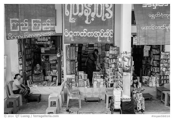 Bookstores along southern stairway. Yangon, Myanmar (black and white)