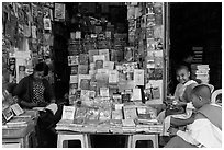 Nuns at bookstore, Shwedagon Pagoda. Yangon, Myanmar ( black and white)