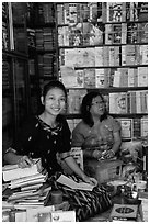 Booksellers, Shwedagon Pagoda. Yangon, Myanmar ( black and white)