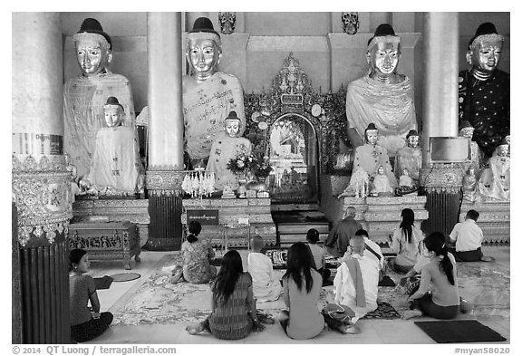 Praying at a Devotion Hall. Yangon, Myanmar (black and white)