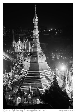 Sule Pagoda and Emmanuel Baptist Church at night. Yangon, Myanmar (black and white)