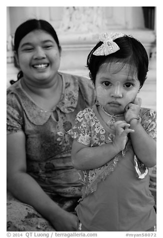 Girl and mother, Shwedagon Pagoda. Yangon, Myanmar (black and white)