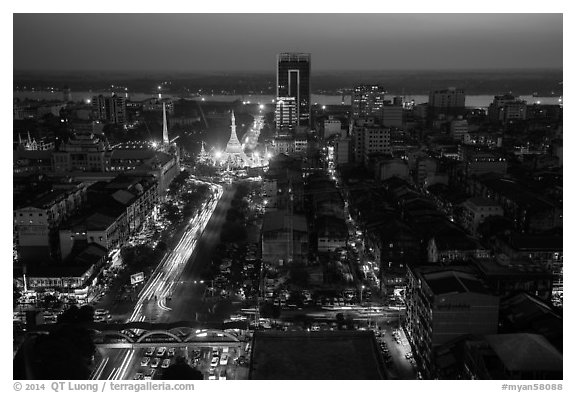 Elevated view of city center at dusk with Sule Pagoda and Yangon River. Yangon, Myanmar (black and white)