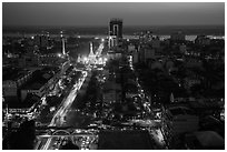 Elevated view of city center at dusk with Sule Pagoda and Yangon River. Yangon, Myanmar ( black and white)