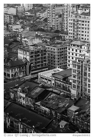 Downtown appartment buildings from above. Yangon, Myanmar (black and white)