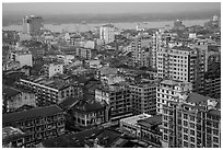 Indian quarter and Yangon River from above. Yangon, Myanmar ( black and white)
