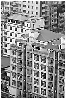 New appartment buildings from above. Yangon, Myanmar ( black and white)