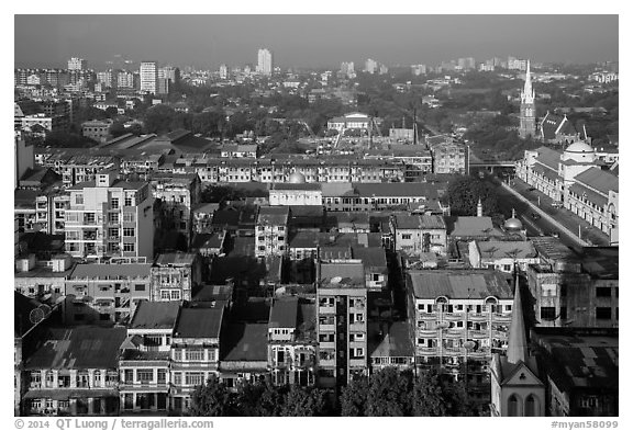City view from above. Yangon, Myanmar (black and white)
