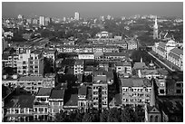 City view from above. Yangon, Myanmar ( black and white)