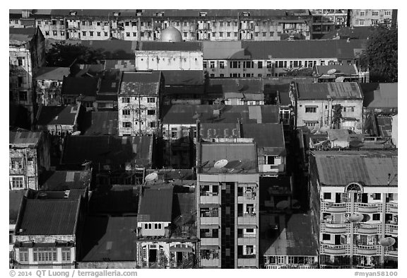 Residential buildings from above. Yangon, Myanmar (black and white)