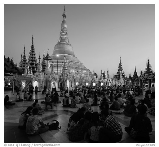 Praying from the Victory Ground, Shwedagon Pagoda, sunset. Yangon, Myanmar (black and white)