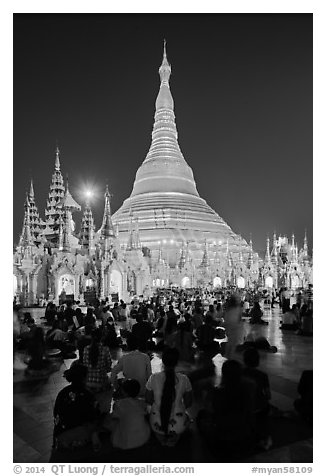 Golden dome seen from the Victory Ground at dusk, Shwedagon Pagoda. Yangon, Myanmar (black and white)