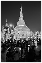 Golden dome seen from the Victory Ground at dusk, Shwedagon Pagoda. Yangon, Myanmar ( black and white)