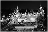 South stairwaygate from above at night, Shwedagon Pagoda. Yangon, Myanmar ( black and white)