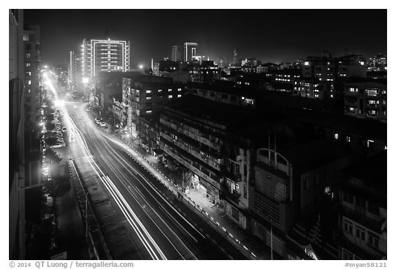Street from above at night. Yangon, Myanmar (black and white)