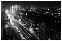 Street from above at night. Yangon, Myanmar ( black and white)