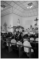 Inside church with wedding in progress. Yangon, Myanmar ( black and white)