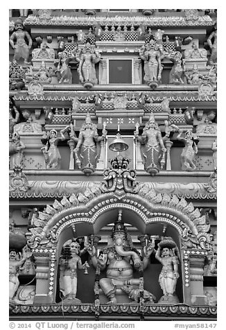 Hindu temple. Yangon, Myanmar (black and white)