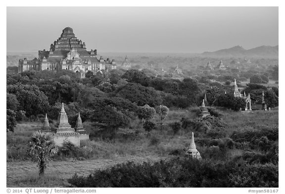 View from Shwesandaw. Bagan, Myanmar (black and white)